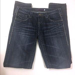 63ffd1b283 Vigoss Jeans - VIGOSS Collection Straight Dark Wash Studded Jeans
